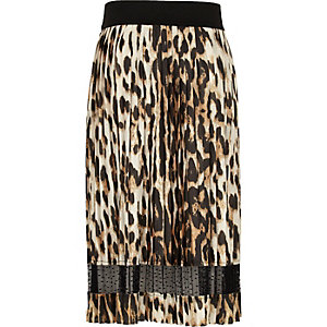 Girls leopard print lace panel midi skirt