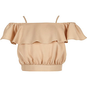 Girls gold bardot ruffle crop top