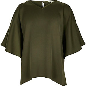 Girls khaki green frill sleeve swing top