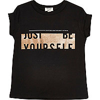 Mini girls black print T-shirt