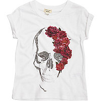 Mini girls white skull rose T-shirt