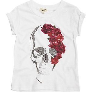T-shirt blanc avec crâne et rose pour mini fille