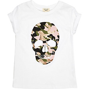 Mini girls white camo skull print T-shirt