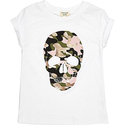 Mini für Mädchen – Weißes T-Shirt mit Militärmuster und Totenkopf-Aufdruck