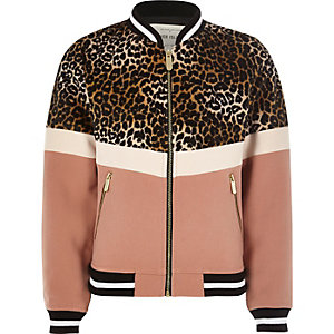 Girls leopard print panel bomber jacket