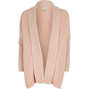Girls pink metallic knit open cardigan