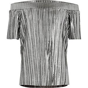 Top plissé gris métallisé à encolure Bardot pour fille