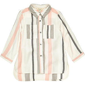 Mini girls white stripe shirt