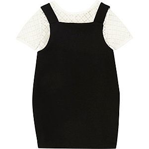 Mini girls black 2 In 1 pinafore dress