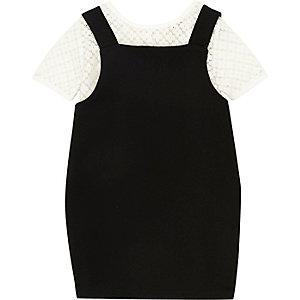 Robe chasuble 2 en 1 noire mini fille