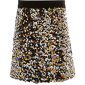 Girls gold sequin A-line skirt