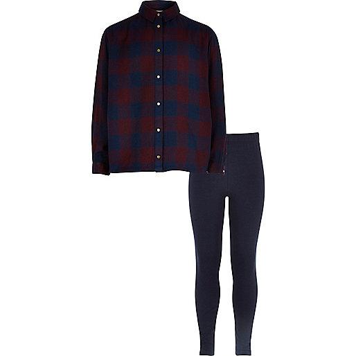 Ensemble legging et chemise à carreaux bleu marine pour fille