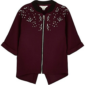 Mini girls berry red embellished shacket