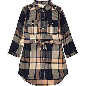 Mini girls navy and brown check shirt dress