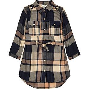 Robe chemise à carreaux bleu marine et marron pour mini fille