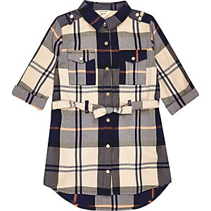 Mini girls navy and cream check shirt dress