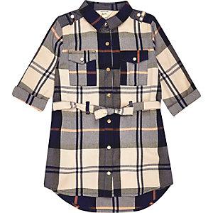 Robe chemise à carreaux bleu marine et crème pour mini fille