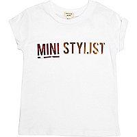 Mini girls white 'Mini Stylist' print T-shirt