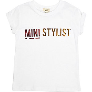 Mini girls white 'Mini Stylist' print T-shirt