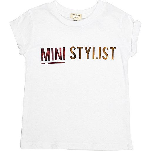 T-shirt imprimé Mini Stylist blanc mini fille