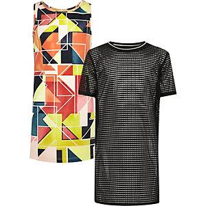 Girls geo print and mesh dress set