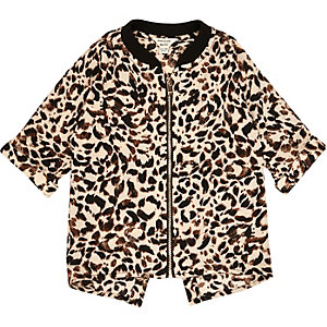 Mini girls leopard print shacket