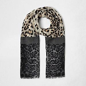 Écharpe marron imprimé animal style colour block pour fille