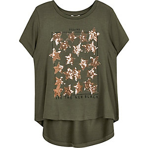 Mini girls khaki sequin T-shirt