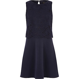 Girls navy blue lace layered dress
