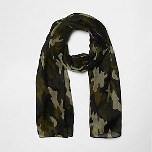 Girls khaki brown camo scarf