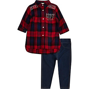 Mini girls red check stud shirt leggings set