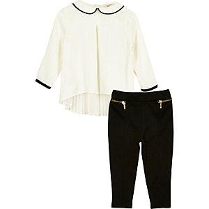 Ensemble top plissé blanc et leggings pour mini fille