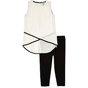 Mini girls white shell top leggings set