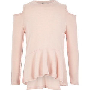 Girls blush pink cold shoulder peplum top