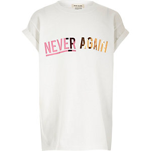 Girls white 'Never Again' print T-shirt