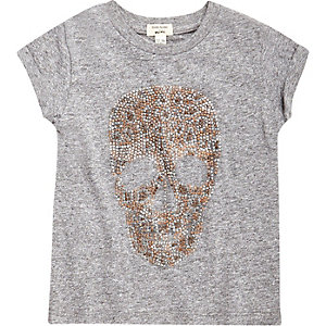 Mini girls grey marl stud skull T-shirt