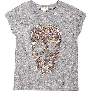 T-shirt motif tête de mort cloutée gris chiné mini fille