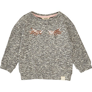 Mini girls grey marl eyelash sweatshirt