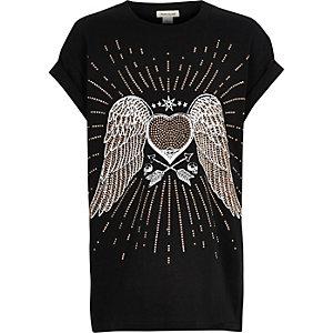 Schwarzes T-Shirt mit Nietenverzierung und Motiv