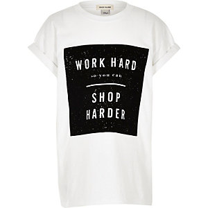 Girls white slogan print oversized T-shirt