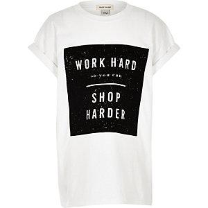 T-shirt oversize blanc imprimé slogan pour fille