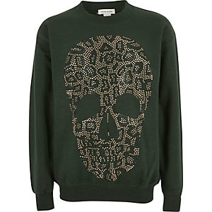 Girls khaki leopard stud skull sweatshirt