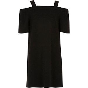 Schwarzes Swing-Kleid mit Schulterausschnitten