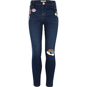 Girls dark wash badge Molly jeggings