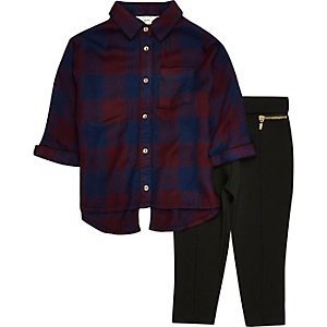 Mini girls red check shirt leggings set