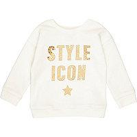 Mini girls white metallic print sweatshirt