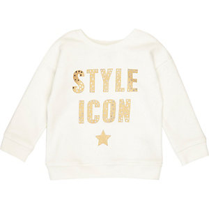 Mini girls white metallic print sweatshirt
