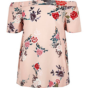 Girls pink oriental print bardot top
