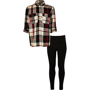 Girls red check shirt leggings set