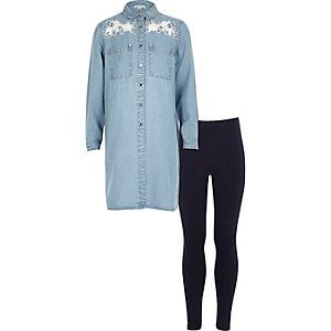 Girls denim lace detail shirt and legging set